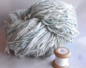 White and eucalyptus mohair with silver thread handspun yarn HYLO12