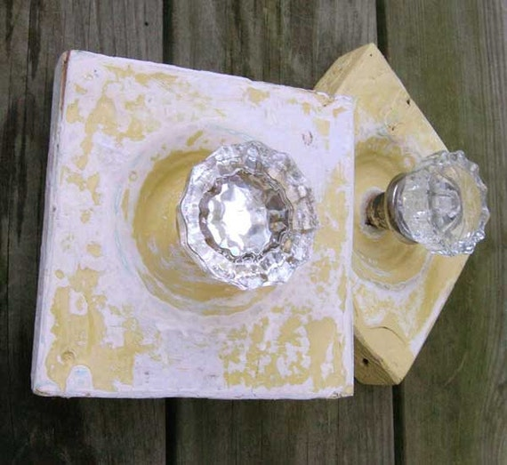 RESERVED for HGTV- Opposites  Attract - Pair of Antique Doorknob Coat Racks, Mounted On Salvaged Rosette Molding