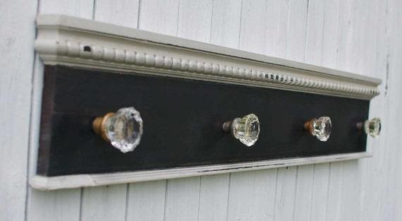 Antique Glass Door Knob Coat Rack On Reclaimed Wood Large