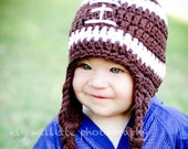 Crochet Football Earflap Beanie for Boys and Girls, Baby Sizes