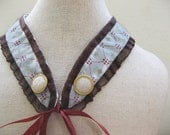 vintage style light blue  bourdeaux  collar with satin ribbon
