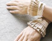Lyr elastic lace ruffled cuffs,romantic wrist warmers