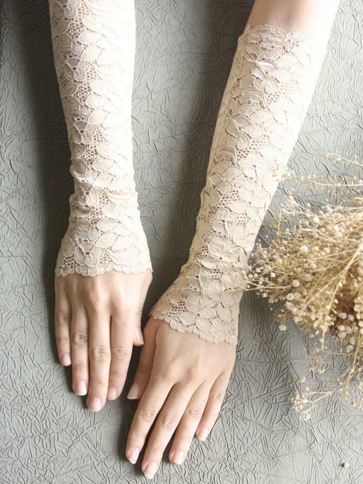 Nude skin lace gloves bridal gloves