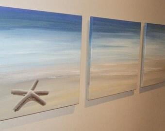 "Starfish Sandy Beach Original Seascape Canvas Painting ""ARTSOLUTELY"""