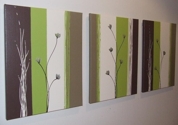 Lime Green Chocolate Brown Cream Poppies Painting by Stephanie