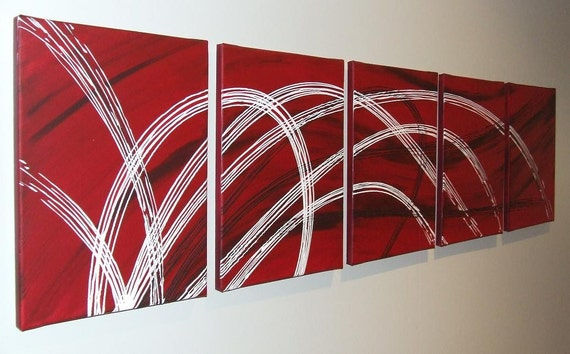 Berry Red Chocolate White Original Abstract Painting by Stephanie