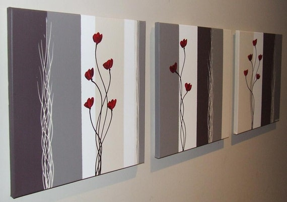Red Poppies on Chocolate Brown Mushroom Cream White Original Canvas Painting by Stephanie