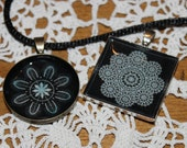 Resin pendant on satin necklace with traditional croatian lace