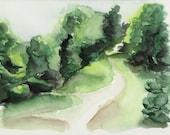 Path in the wood - landscape original watercolor