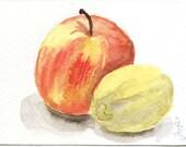 ACEO apple and lemon original watercolor