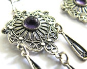 Ethnic Chandelier Earrings, 925 Sterling Silver, Filigree,  Decorated With Amethyst Gemstones, Woman Jewelry  - ID64