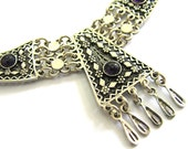 Ethnic Necklace, Filigree, Chandelier, Sterling silver, Decorated With Onyx Gemstones, Women Jewelry - ID234