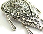 Brooch Pin 925 Sterling Silver Filigree Chandelier Women Jewlery - ID119