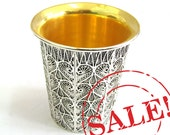 SALE 20% OFF - 925 Sterling silver Filigree Artisan Wine Goblet / Chalice Collectors Item Judaica- Free Express Shipping ID752