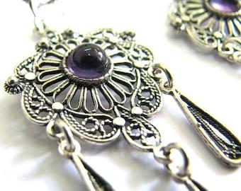 Chandelier Earrings, 925 Sterling Silver, Ethnic, Filigree, Amethyst Gemstones, Woman Jewelry, Holidays Gift, Purple Stones, Handmade - ID64