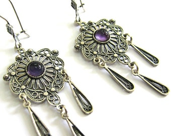 Amethyst Gemstones, Chandelier Earrings, 925 Sterling Silver, Ethnic, Filigree, Woman Jewelry, Holidays Gift, Purple Stones, Handmade - ID64