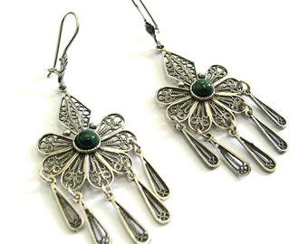 Azurite Gemstones Earrings, Chandelier, Filigree, 925 Sterling Silver, Green And Blue Stone, Gift For Her, Yemenite Design - ID 82