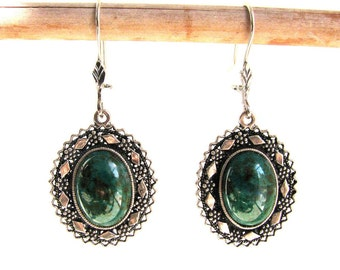 Earrings Oval Artisan 925 Sterling Silver Decorated With Azurite Gemstones Woman Jewelry Gift - ID1062
