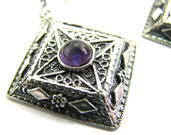 Filigree, Ethnic Earrings, 925 Sterling Silver, Decorated With Amethyst Gemstones, Women Jewelry, Mother Day Gift - ID1090