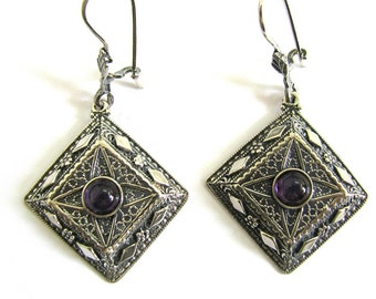 Ethnic Earrings, Filigree, 925 Sterling Silver, Decorated With Amethyst Gemstones, Women Jewelry, Mother Day Gift - ID1090