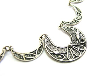 925 Sterling Silver, Artisan, Filigree, Ethnic Necklace - ID238