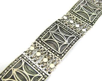 925 Sterling Silver Filigree Artisan Ethnic Bracelet Tube Bar Clasp - ID251