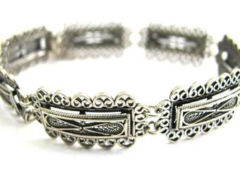 Ethnic Bracelet, 925 Sterling Silver, Artisan, Filigree,Woman Jewelry - ID293