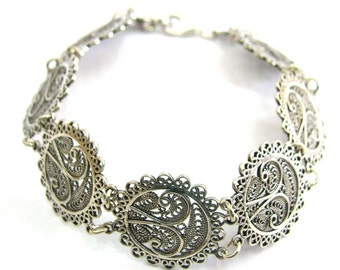Ethnic Bracelet, 925 Sterling Silver, Filigree, Women Jewelry  - Free Shipping ID299