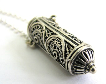 925 Sterling Silver,  Filigree, Amulet Case Necklace  - ID2032