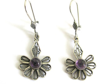 Filigree Earrings, Decorated With Amethyst Gemstones, 925 Sterling Silver, Women Jewelry - ID1081