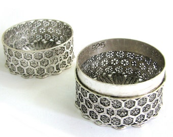 Exclusive Unique Candles Holder / Candlesticks, 925 Sterling Silver, Yemenite Filigree, Compact Nice For Traveling, Judaica - ID1708