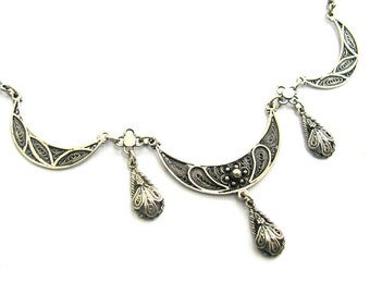 925 Sterling Silver Filigree Ethnic Necklace - ID231
