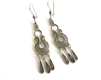 Handmade Filigree Ethnic Chandelier Earrings, 925 Sterling Silver, Women Earrings - ID1026