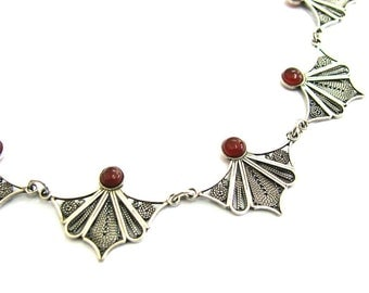 925 Sterling Silver, Filigree Necklace, Decorated With Garnet Gemstones - ID1251
