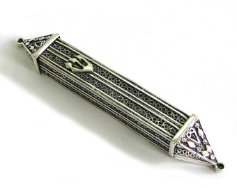 """Filigree Mezuzah Case 4"""" X 0.4"""" Made From 925 Sterling Silver  Artisan Judaica - Free Shipping ID509"""
