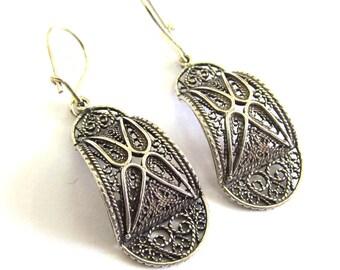 Ethnic Earrings, 925 Sterling Silver, Filigree, Women Jewelry - ID1068