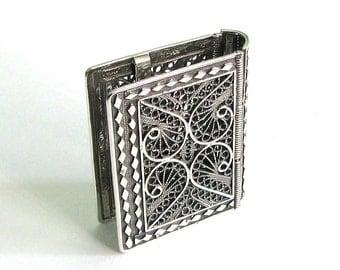 "925 Sterling Silver Filigree Psalms (Tehilim) Book Binder 1.6"" X 1.2"" Judaica - Free Shipping ID865"