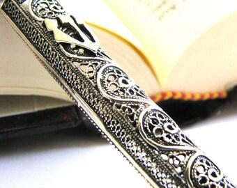 "Mezuzah, 925 Sterling Silver, Artisan, Filigree, Mezuzah Case, 4"" X 0.4"", Jewish Holiday Gift, Judaica, Unique Mezuzah - ID501 [p]"