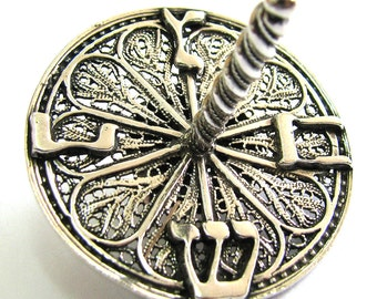 Filigree Hanukkah Dreidel Game, 925 Sterling Silver, Handmade Filigree, Artisan Judaica, Jewish Holiday Gift - Free Shipping ID951