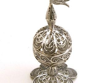 Besamim For Havdala, 925 Sterling Silver, Artisan, Filigree, Judaica, Holidays Gift  - Free Shipping ID607