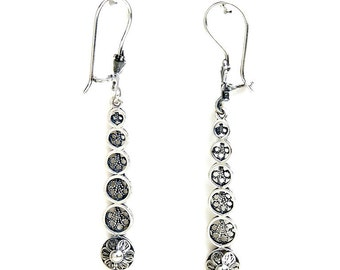 925 Sterling Silver Artisan Filigree Earrings, Women Jewelry - ID1075