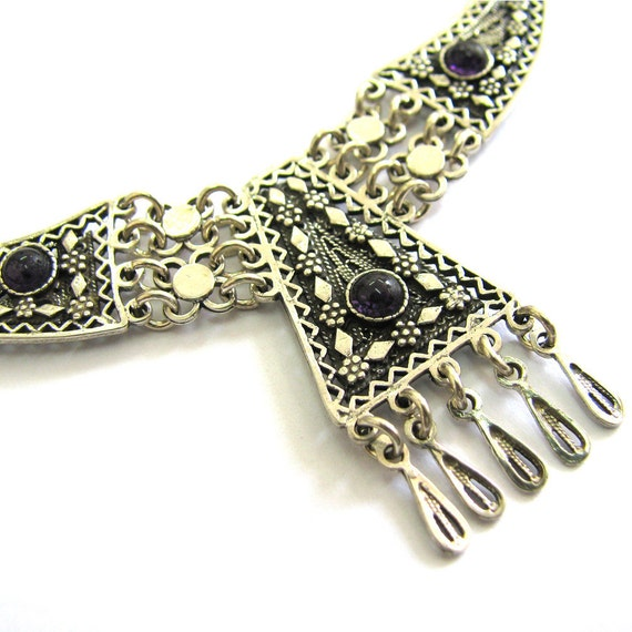 Ethnic Necklace, Filigree, Chandelier, Sterling silver, Decorated With Onyx Gemstones, Women Jewelry, Holidays Gift, Yemenite Style - ID234