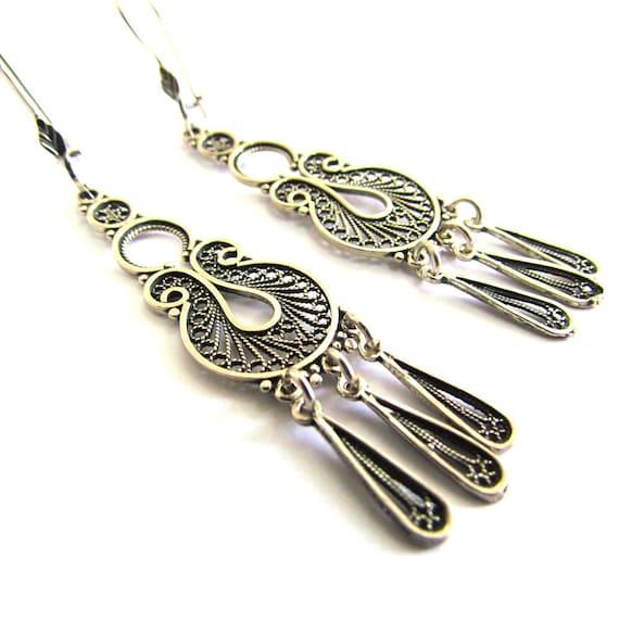 Sterling Silver Ethnic Chandelier Earrings - ID1026