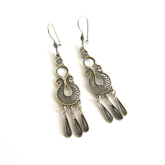 Handmade Filigree Ethnic Chandelier Earrings 925 Sterling