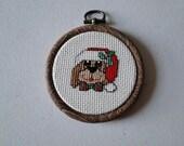 Puppy in Santa Hat Ornament