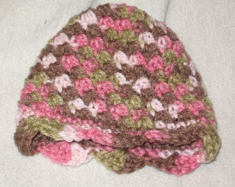 Scalloped Baby Beanie -Pink & Brown variegated