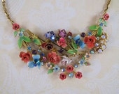 Austrian Summer- Vintage Collage Austrian Enamel Necklace- One-of-a-Kind