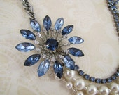 Midnight at the Oasis- Vintage Rhinestone Collage Statement Necklace- Midnight, Navy, Medium Blue, White Pearls, One-of-a-Kind