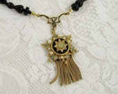 Vintage Upcycled Necklace- Medallion Tassle Pendant with Black West Germany Crystal Beads, One of a Kind, Faithful