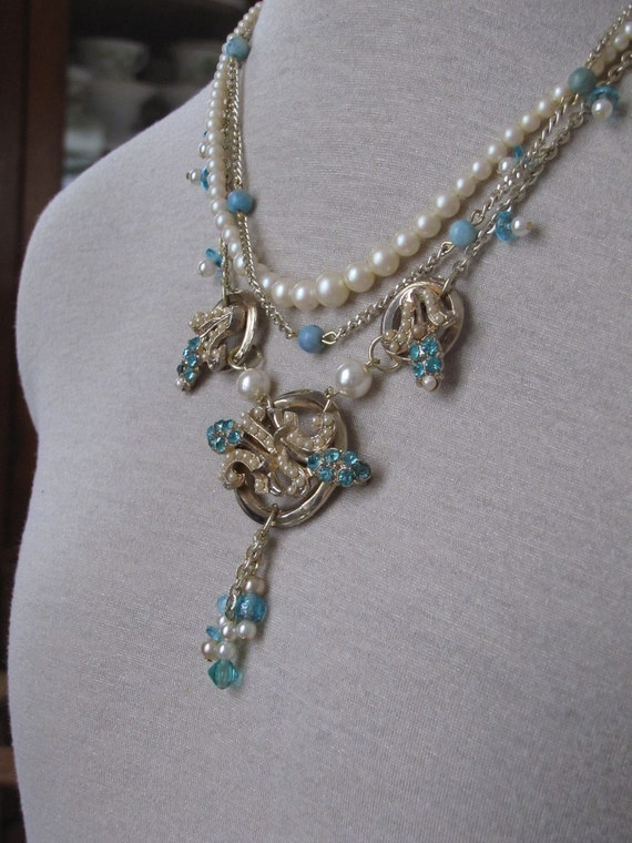 Breakfast at Tiffany's necklace, repurposed, reclaimed, upcycled vintage jewelry OOAK